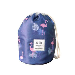 BloomVenus Navy flamingo Women Travel Round Makeup Bag