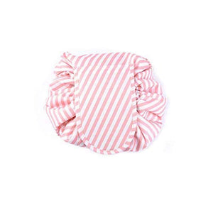 BloomVenus Pink Stripe NiftyStorage™ Drawstring Makeup Storage Bag