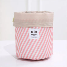Load image into Gallery viewer, BloomVenus Pink stripe Women Travel Round Makeup Bag
