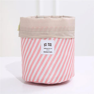 BloomVenus Pink stripe Women Travel Round Makeup Bag