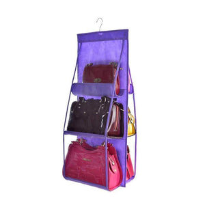 BloomVenus Purple OrgaNice™ 6-Large-Pockets Hanging Handbag Organizer