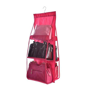 BloomVenus Red OrgaNice™ 6-Large-Pockets Hanging Handbag Organizer
