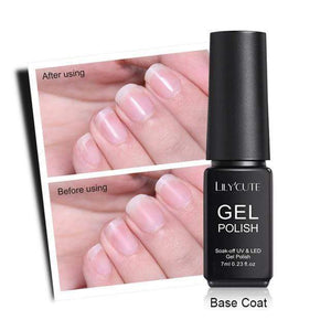 BloomVenus UV Base Coat Gel LILYCUTE 7ml Base Coat Gel Polish No Wipe Top Coat Manicure Tips Eco-friendly Soak Off UV Gel Polish Nail Art Lacquer
