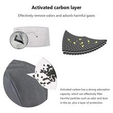 Load image into Gallery viewer, Gray & Black Reusable Cotton Mask w/ 2 Replaceable Filters