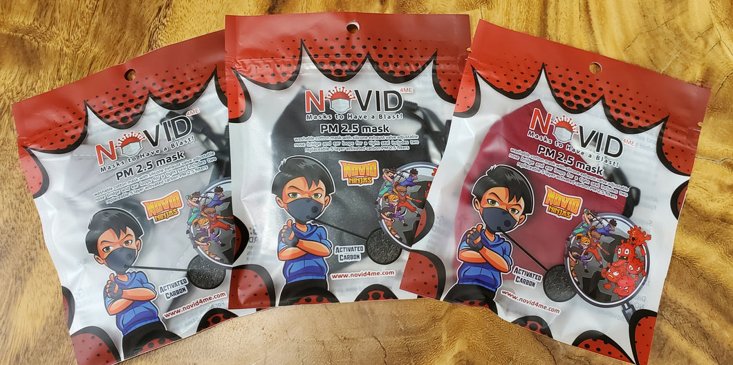 NOVID Ninjas Children's Reusable Cotton Masks w/ 2 Replaceable Filters