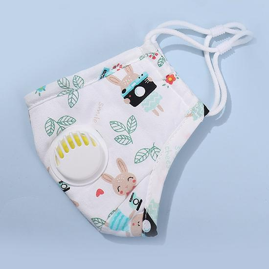 Bunny Print Children's Washable Cotton Mask w/ 2 Replaceable Filters