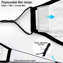 Load image into Gallery viewer, Black Reusable Cotton Mask w/ 2 Replaceable Filters