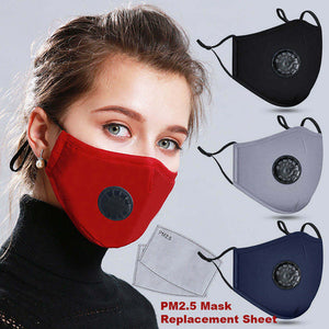 Black Reusable Cotton Mask w/ 2 Replaceable Filters