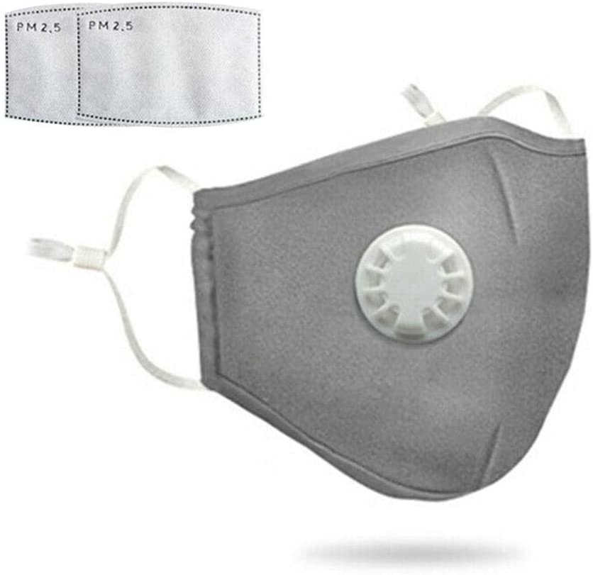 Gray & Black Reusable Cotton Mask w/ 2 Replaceable Filters