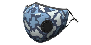 Blue Camo Print Summer Cotton Face Mask w/2 PM 2.5 Carbon Filters