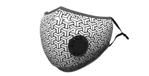 Black & White Geo Print Summer Cotton Face Mask w/2 PM 2.5 Carbon Filters