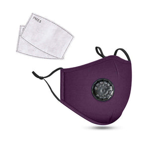 Purple Reusable Cotton Mask w/ 2 Replaceable Filters
