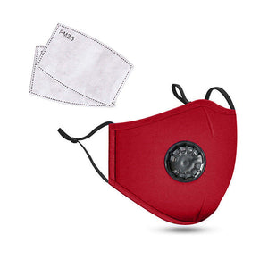 Red Reusable Cotton Mask w/ 2 Replaceable Filters