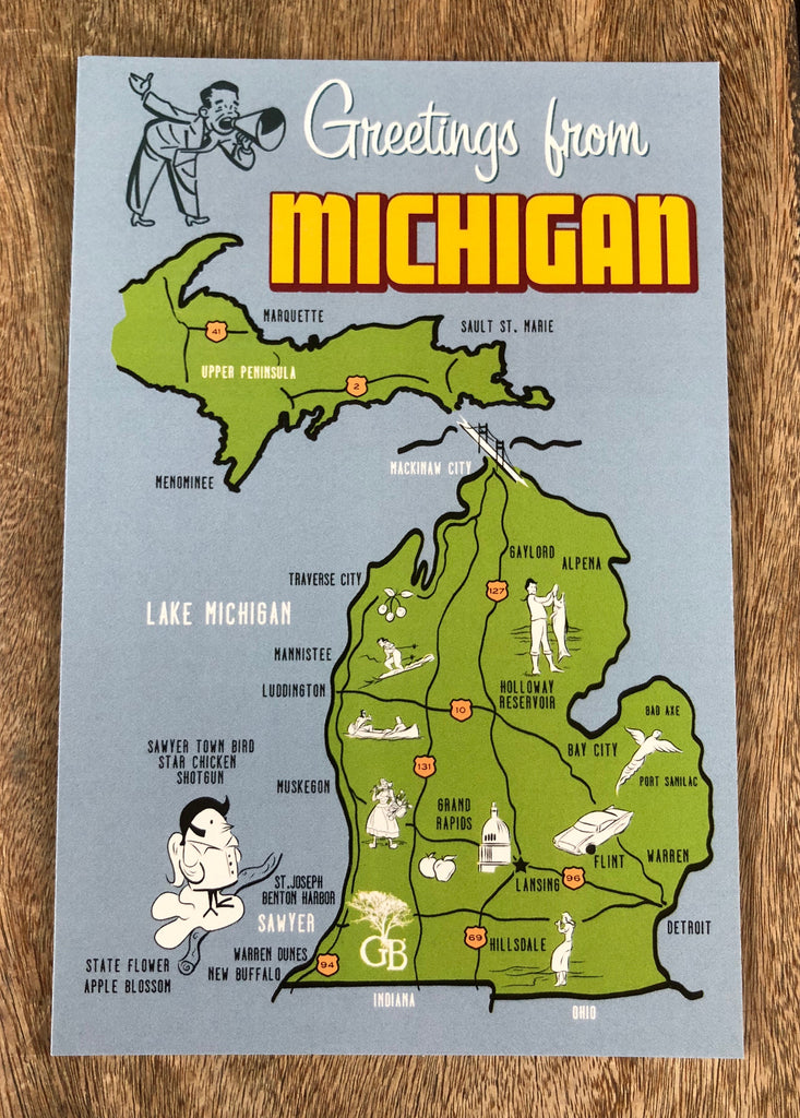 Greetings From Michigan Postcard