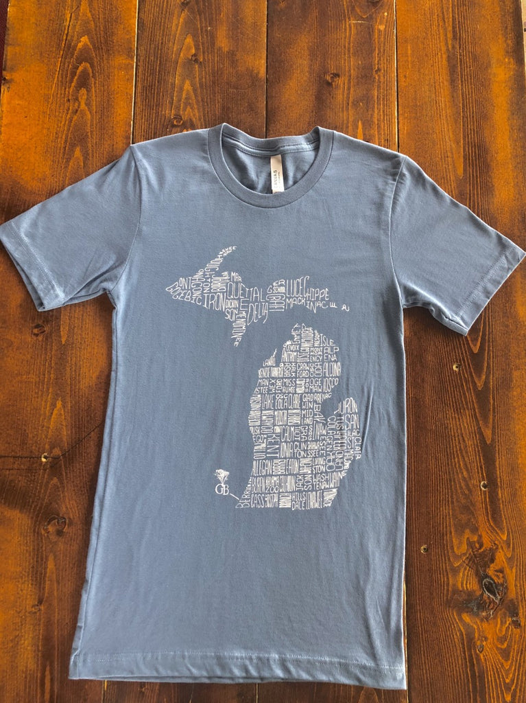 Steel Blue Michigan Counties T-Shirt