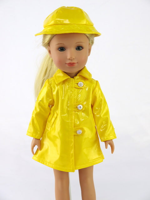 2 PC Yellow Raincoat with Hat FOR WELLIE WISHER DOLLS