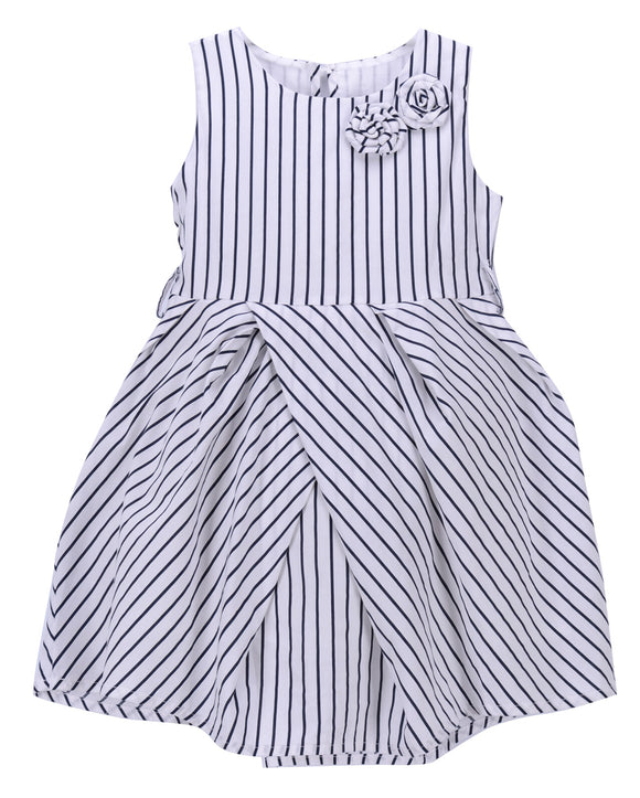 JUSBE KIDS - COTTON STRIPED LINED BOUTIQUE DRESS WITH FLOWER DECOR