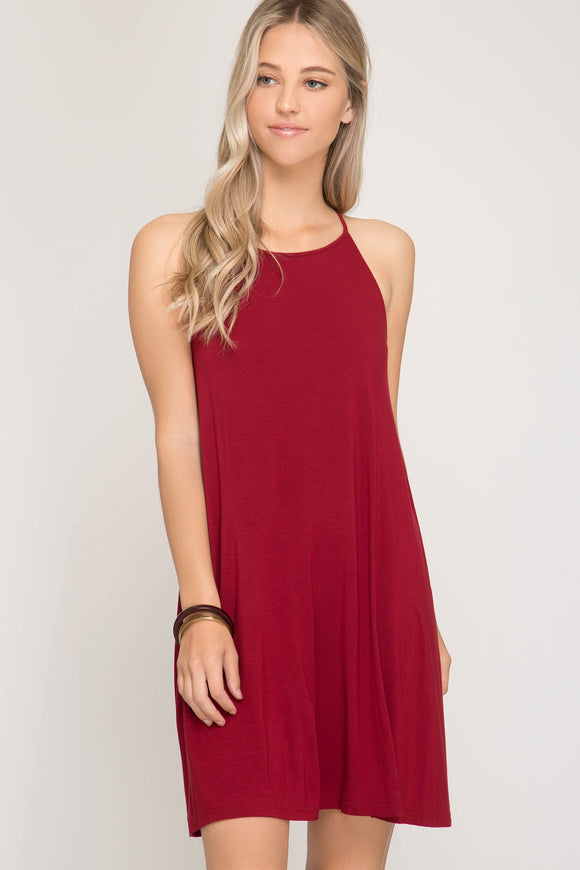 SHE + SKY - SLEEVELESS SPAGHETTI STRAP RACER-BACK WOMEN'S CASUAL  BASIC KNIT DRESS - FEATURED