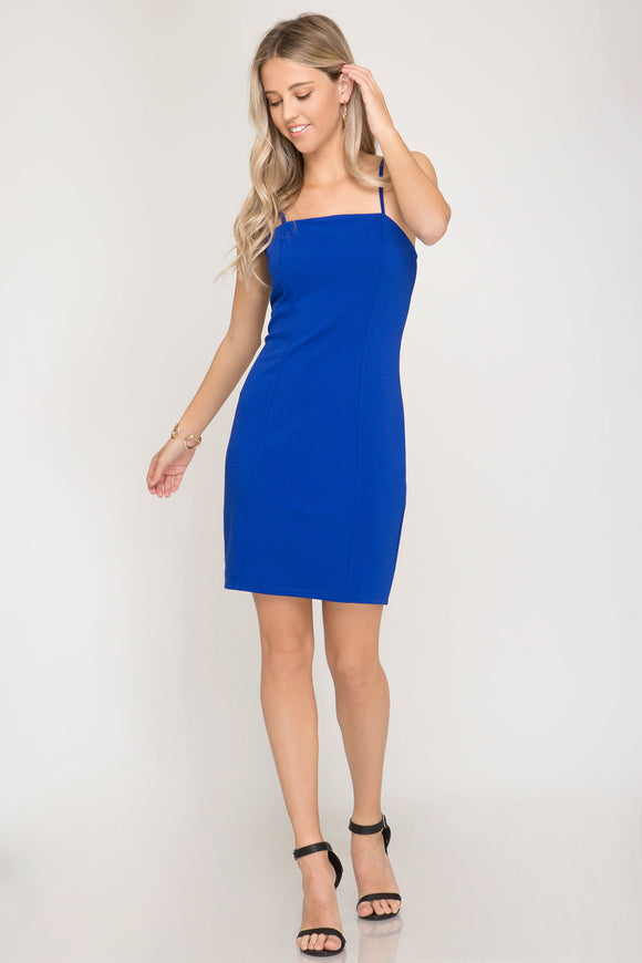Blue midi spaghetti strap Elegant Summer Dress