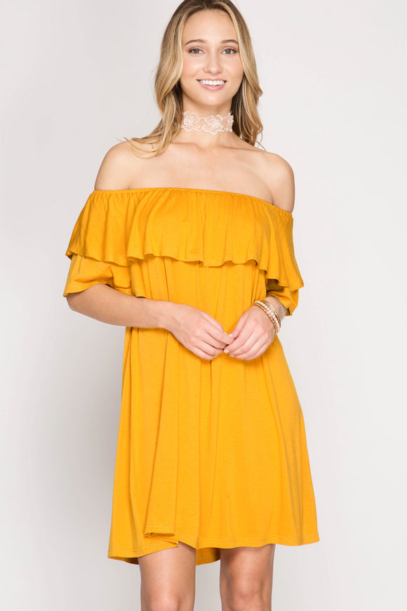 SHE + SKY - OFF SHOULDER DOUBLE RUFFLE SLEEVE SHIFT DRESS