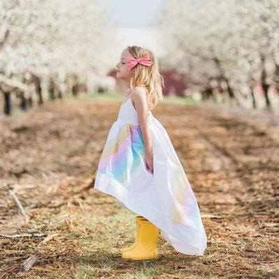 HI LOW RAINBOW ROPE GIRLS COTTON  SUNDRESS