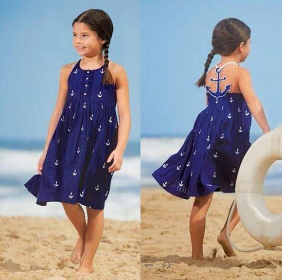 blue & white nautical Anchor  girls halter sundress dress