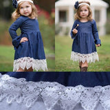 girls denim lace princess dress cape cod fashionista