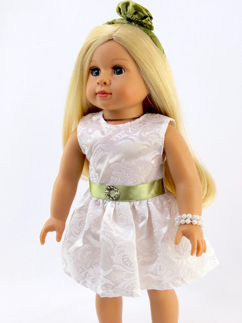 3 PIECE DRESS HEADBAND AND PEARLS FOR AMERICAN GIRL DOLLS