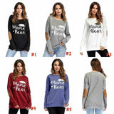 MAMA BEAR COZY LONG SLEEVE ELBOW PATCH JERSEY CASUAL TOP