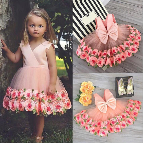 PEACH SLEEVELESS Plunging back with accent bow GIRLS CLOTHING  TODDLER DRESS Tulle Hand Sewn Ribbon Dress- Ribbons are Delicately Sewn into Flowers Around the Hem of the Dress