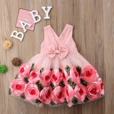 GIRLS TODDLER SLEEVELESS PEACH TULLE RIBBON DRESS
