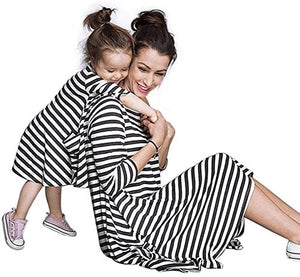 BLACK WHITE MOMMY & ME MOTHER DAUGHTER MATCHING FAMILY COZY STRETCH STRIPED DRESS