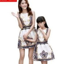 versace faux print A line mother daughter dress