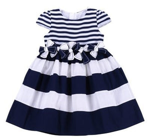 JUSBE KIDS - NORDIC LINED COTTON BOUTIQUE DRESS  W/HAND TRIMMED BOW