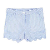 E-land blue Gingham Scalloped Shorts with POCKETS BELT LOOP  Pink Flamingo