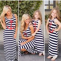 MOMMY & ME MATCHING MOTHER DAUGHTER GIRLS - WOMEN'S CASUAL  ANCHOR MAXI DRESS