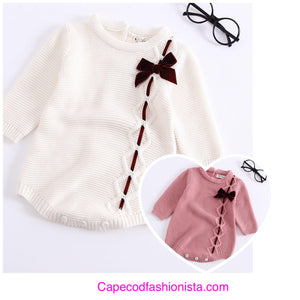 ANJOU -  GIRLS COTTON FALL CABLE ONESIE WITH VELVET BOW TIE