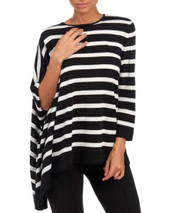 ANNE KLEIN Women's Casual Top Striped Poncho Sleeves