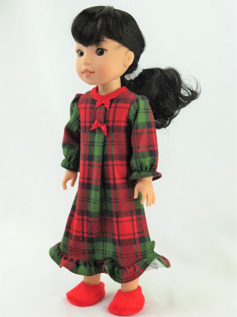 14.5 INCH DOLL: Red and Green Plaid Nightgown FOR WELLIE WISHERS