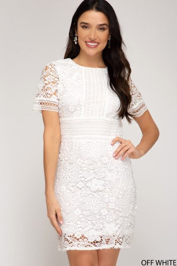 white Short Sleeve Crochet Lace Dress With Lining