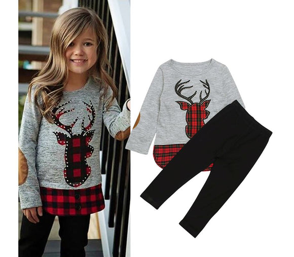 GIRLS TARTAN Reindeer 2 PC GIRLS OUTFIT