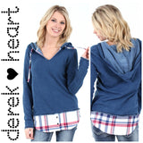 DEREK HEART HOODIE WITH FAUX PLAID SHIRTTAIL