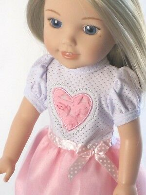 TULLE FLOWER HEART DRESS FOR 14 INCH DOLLS & WELLIE WISHERS