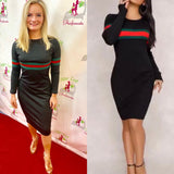 BODYCON RIBBED LONG SLEEVE KNIT GUCCI LIKE PRINT cape cod fashionista