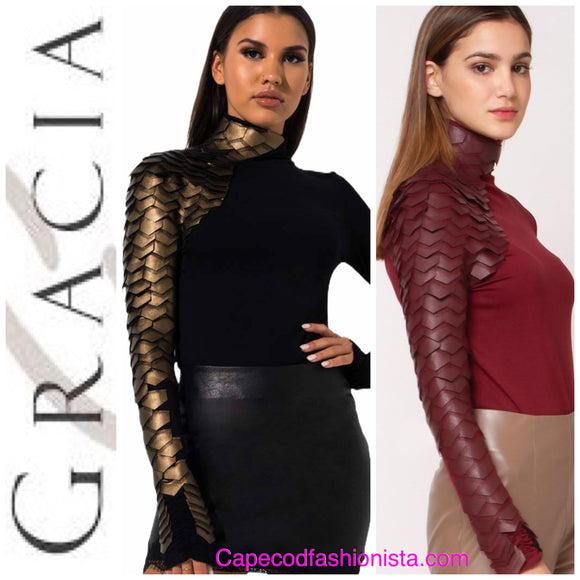 GRACIA - Faux Leather Scale mock neck  in  GOLD or  RED top SOLD OUT