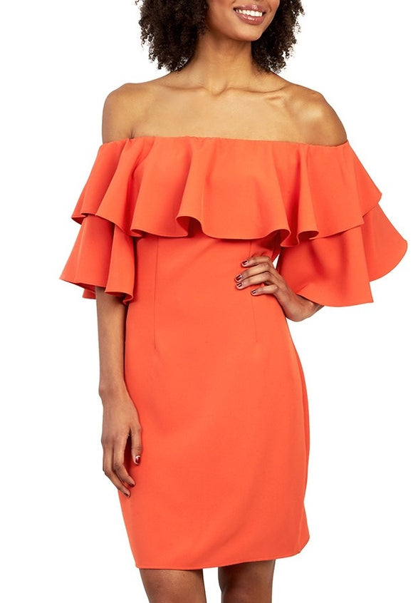 tangerine off the shoulder Ruffled dress with invisible zipper