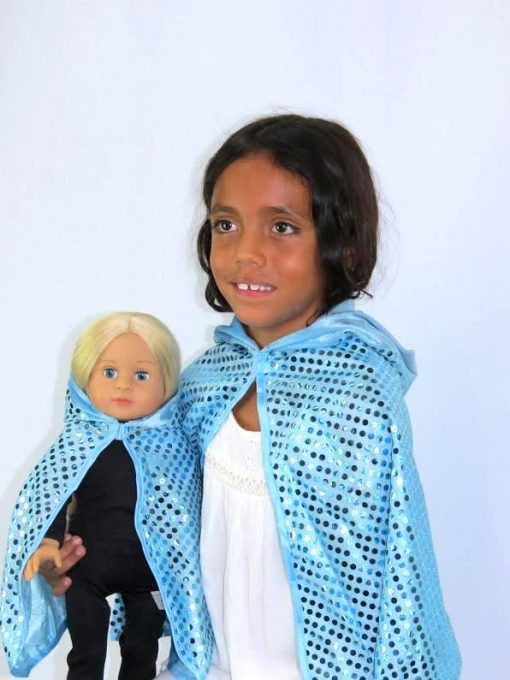 MATCHING GIRL & DOLL SEQUIN CAPE FOR GIRLS & 18 IN AMERICAN GIRL DOLLS