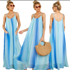 Women's Boutique Gradient Chiffon Beach Dress Spaghetti Strap Maxi Dress