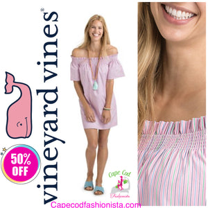 VINEYARD VINES - STRIPE OFF SHOULDER COTTON DRESS cape cod fashionista