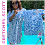 "GRETCHEN SCOTT-BLUE  ""Mommy & Me"" Cotton ANCHOR Tunic - See Not  CASUAL TOP"